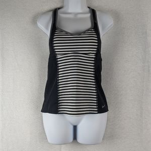 Nike black and white striped racer back top